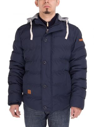 Mens Thermal Padded Down Jacket Removable Hood Treaty Coat Navy Blue by Luciano Natazzi