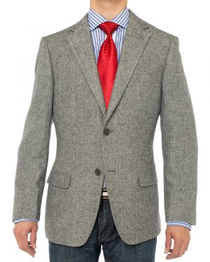 Camelhair Blazer Modern Fit Jacket Gray Herringbone by Luciano Natazzi