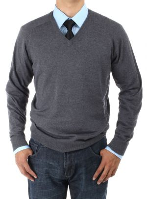 Mens V-neck Cotton Sweater Relaxed Fit Charcoal by Luciano Natazzi