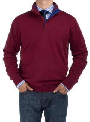 Mens BB Signature Mock Neck 1/4 Button Sweater Relaxed Fit Burgundy by DTI DARYA TRADING