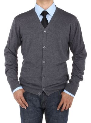 Mens Cotton Cardigan Sweater Relaxed Fit Charcoal by Luciano Natazzi