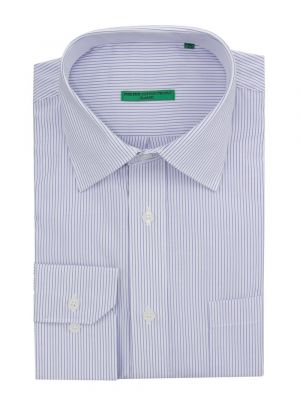 Mens BB Signature Modern Classic Fit 2 Ply Pure Cotton Striped Dress Shirt White Blue by DTI DARYA TRADING