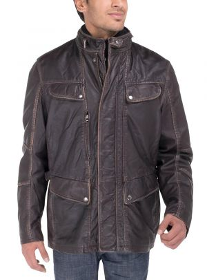 Mens Vintage Look Lamb Blast Washed Long Leather Jacket Choco Brown by Luciano Natazzi