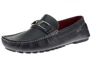 Mens Air Grant Bit Leather Shoes Slip-on Driving Moccasin Loafer Oily Black by Luciano Natazzi