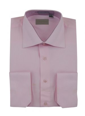 Mens Dress Shirt Spread Collar Cotton Convertible Cuffs Narrow Stripe 4 Colors Pink by Darya Trading