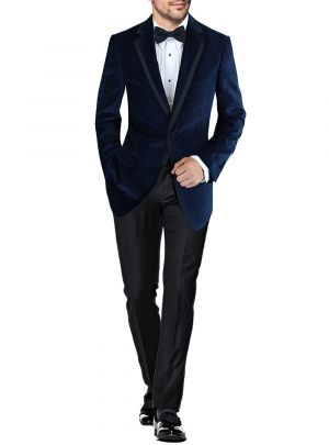 Mens BB Signature Two Button Side-Vent Jacket Velvet Tuxedo Suit Blue by DTI DARYA TRADING