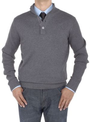 Mens Mock Neck Ribbed Sleeve Buttoned Sweater Relaxed Fit Charcoal by Luciano Natazzi