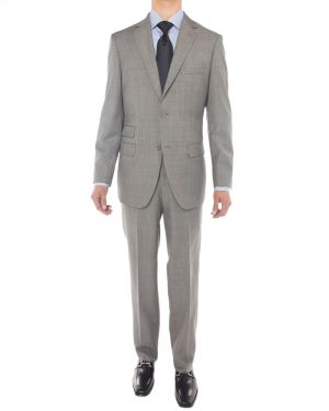 Sharkskin 160S Wool Two Button Jacket 2 Piece Gray by Luciano Natazzi