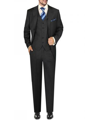 Mens GV Executive Italian Suit Set Wool 3 Button Vested Piece Stripe Charcoal by DTI DARYA TRADING