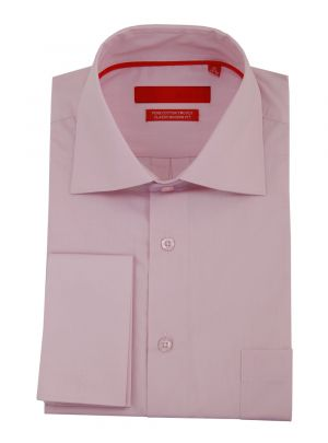 Mens GV Executive Modern Spread Collar French Cuff Cotton Dress Shirt Light Pink by DTI DARYA TRADING