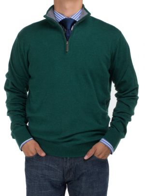 Mens BB Signature Mock Neck 1/4 Zip Sweater Relaxed Fit Dk Green by DTI DARYA TRADING