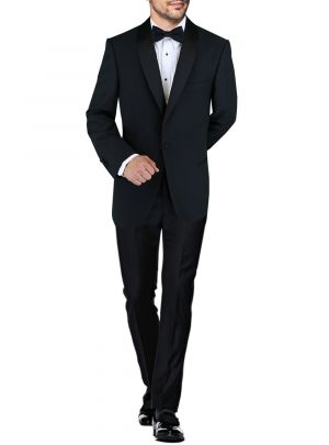 Mens BB Signature One Button Shawl Lapel Wool Tuxedo Suit Black by DTI DARYA TRADING