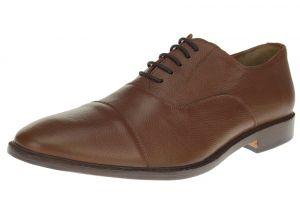 Tan Burnish Lace-up Cap-toe Oxford Full Grain Leather Dress Shoes SL303