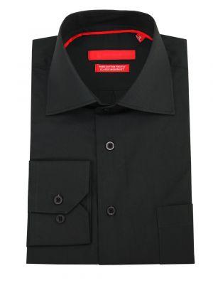 Mens GV Executive Modern Spread Collar Barrel Cuff Cotton Dress Shirt Black by DTI DARYA TRADING