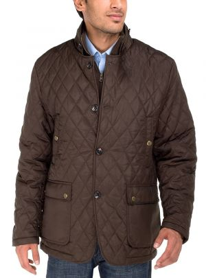 Mens Quilted Puffer Jacket With Double Knit Collar Dark Brown by Luciano Natazzi