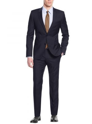 Modern Fit Two Button Working Holes Navy by Nicoletti