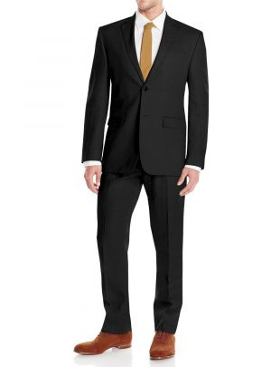 GV Executive Linen Men's Modern Fit 2 Button Summer Black Wedding Suit by DTI