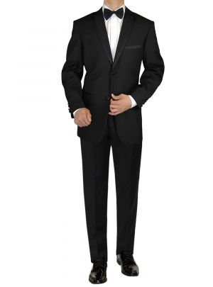 Mens Tuxedo Suit Two Button Jacket Flat Front Adjustable Pants Black by Giorgio Napoli