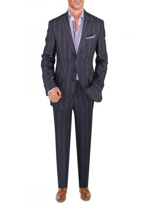BB Signature Men's Modern Fit 2 Button Italian Linen Suit Blue Windowpane by DTI