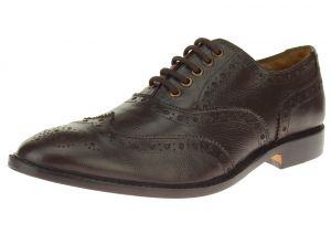 Dark Brown Lace-up Wingtip Oxford Full Grain Leather Dress Shoes SL304
