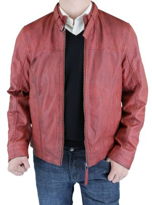 Mens Picasso Leather Trim Fit Racer Jacket Watermelon by Luciano Natazzi