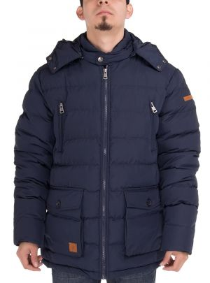 Mens Thermal Padded Down Jacket Removable Hood Puffer Parka Coat Navy Blue by Luciano Natazzi