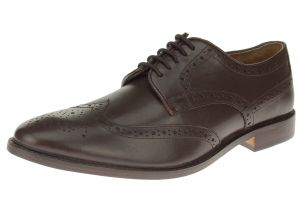 Dark Brown Lace-up Wingtip Oxford Full Grain Leather Dress Shoes SL301