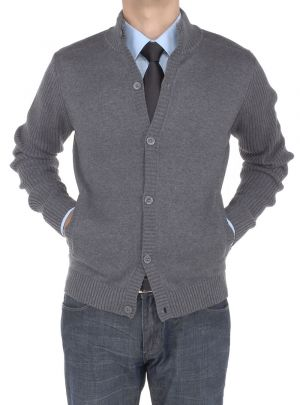 Mens Cotton Mock Neck Ribbed Sleeve Cardigan Sweater Relaxed Fit Charcoal by Luciano Natazzi