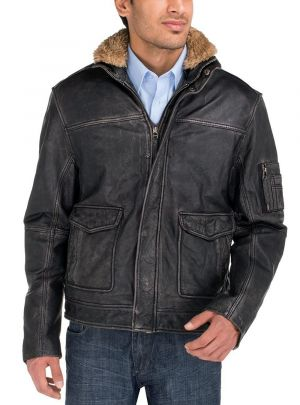 Mens Buff Rub Heritage Flight Leather Jacket Black by Luciano Natazzi
