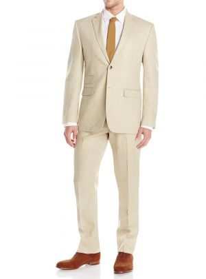 GV Executive Men's Two Button Modern Fit Summer Linen Wedding Suit Tan by DTI