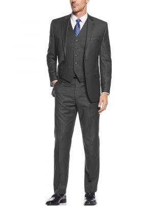 Vested Three Piece Blazer Jacket Dress Vest Plus Pant Charcoal by Salvatore Exte