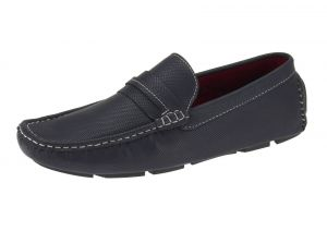 Navy Slip-on Loafer Designer Faux Leather Driving Shoe