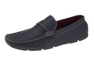 Navy Slip-on Loafer Woodley Designer Faux Leather Driving Shoe