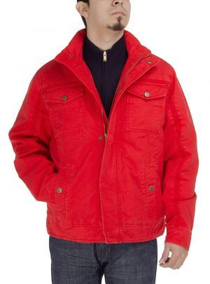 Mens Light Weight Cotton Lightly Thermal Padded Jacket Red by Luciano Natazzi