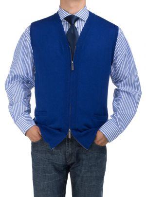 Mens BB Signature Full Zip Cotton Sweater Vest Relaxed Fit Royal Blue by DTI DARYA TRADING