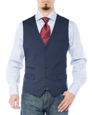 Mens Modern Fit Vest Dress Suits Waistcoat For Suit Tuxedo Navy Blue by Giorgio Napoli