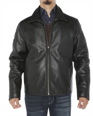 Mens Classic Full Grain Cow Leather Jacket Black by Luciano Natazzi
