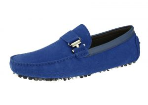 Mens Suede Leather Driving Shoe Michael Slip-on Loafer Royal by Salvatore Exte