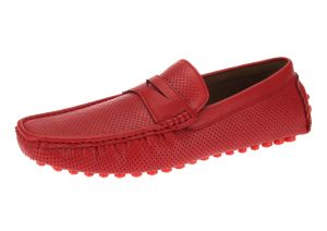 Red Slip-on Loafer Comfortable Faux Leather Shoe