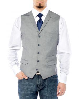 Mens Notch Lapel Casual Vest Modern Fit Dress Suit Waistcoat Gray by Salvatore Exte