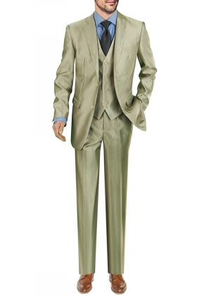 DTI Two Button Modern Fit Vested 3 Piece Jacket Pant With Vest Tan by Darya Trading