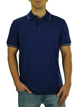 Mens DTI Pique Polo Sport Shirt Solid Short Sleeve Cotton Royal Classic Fit Navy by Darya Trading