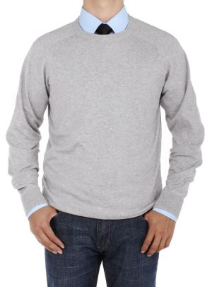 Mens Crew Neck Cotton Sweater Relaxed Fit Light Gray by Luciano Natazzi