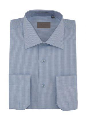 Mens Dress Shirt Spread Collar Cotton Convertible Cuffs Narrow Stripe 4 Colors Blue by Darya Trading