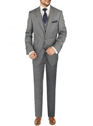 BB Signature Italian Vested Wool 3 Piece Jacket Pant Waistcoat Gray by DTI DARYA TRADING