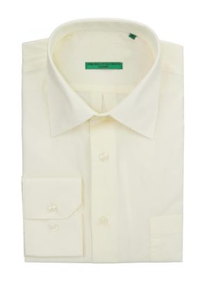 Mens BB Signature Modern Classic Fit 2 Ply Pure Cotton Solid Dress Shirt Vanilla Ice by DTI DARYA TRADING