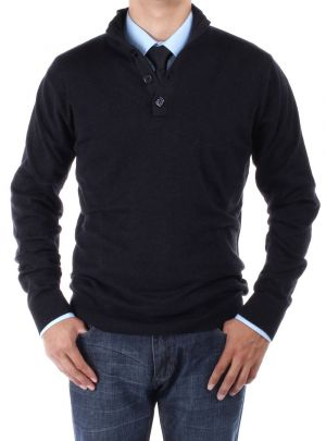 Mens Mock Neck Elbow Patch 14 Button Sweater Relaxed Fit Black by Luciano Natazzi