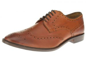 Tan Burnish Lace-up Wingtip Oxford Full Grain Leather Dress Shoes SL301