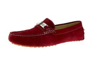 Red Slip-on Loafer Drefinno Comfort Leather Driving Shoe