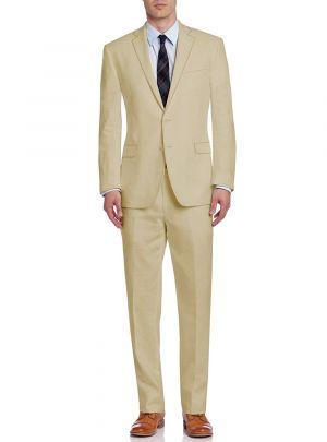 BB Signature Men's Modern Fit 2 Button 2 Piece Italian Linen Suit Banana Cream by DTI